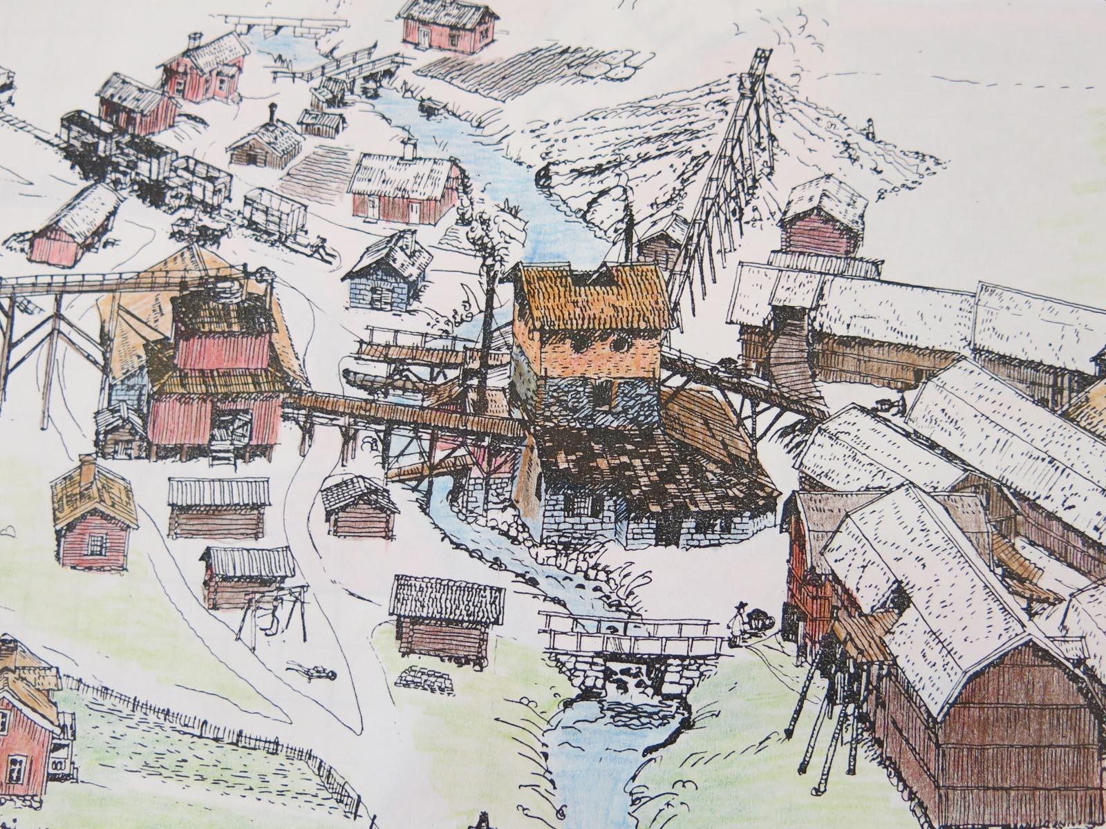 Flatenbergs hytta. Teckning av Per Lindroos.