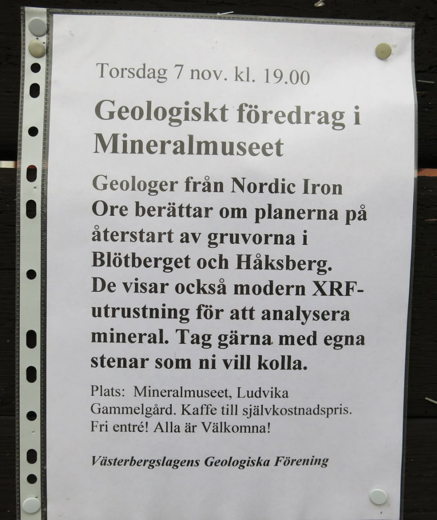information om geologiskt föredrag i Mineralmuseet
