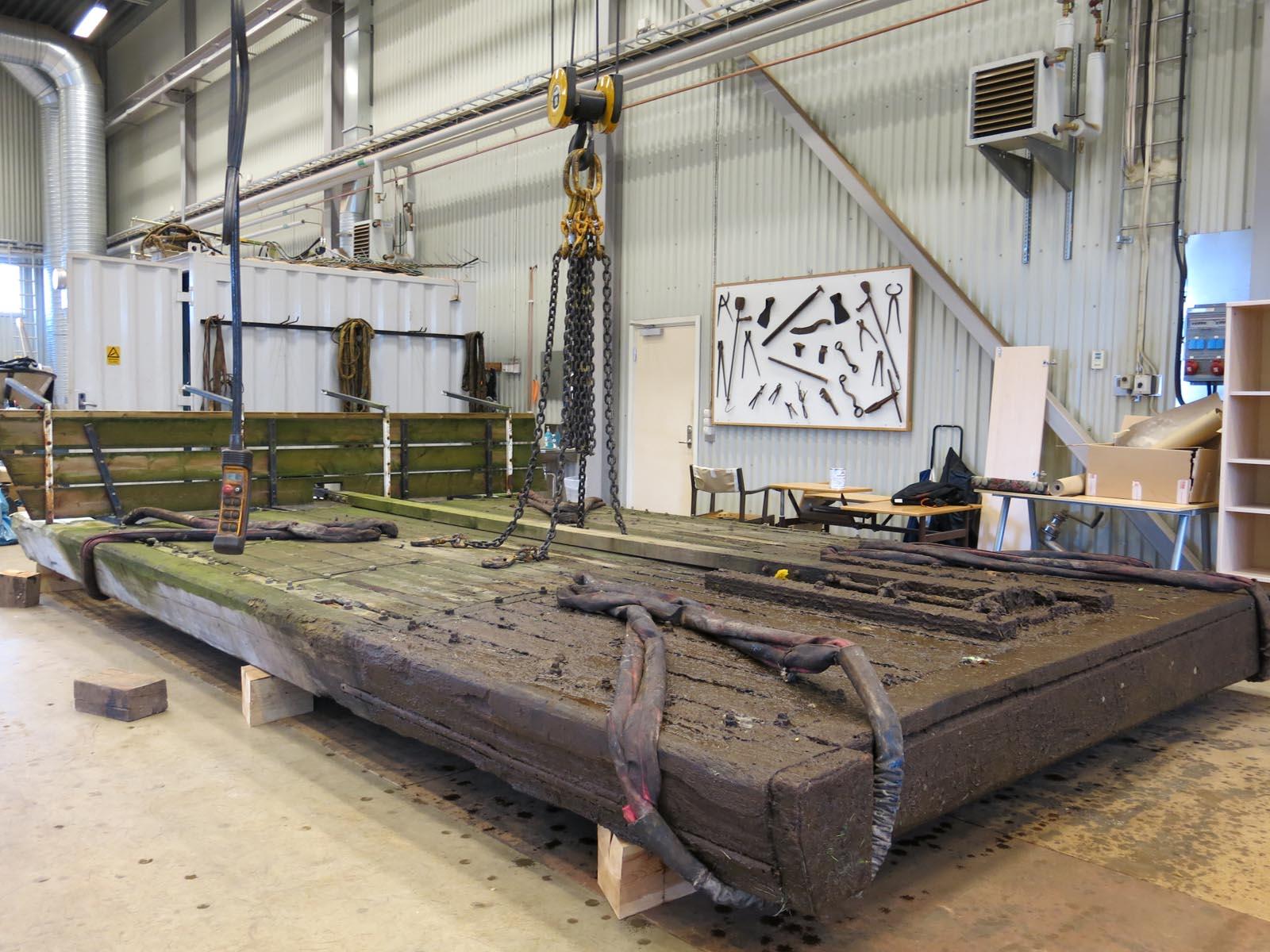 Slussporbladet i Kanalhyttan redo för besikning och reparation.